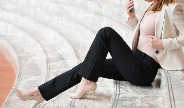 Dress comfortably but still maintain a professional look with dressy yoga pants. | 23 Ways To Make Your Eternally Long Flight A Little Better