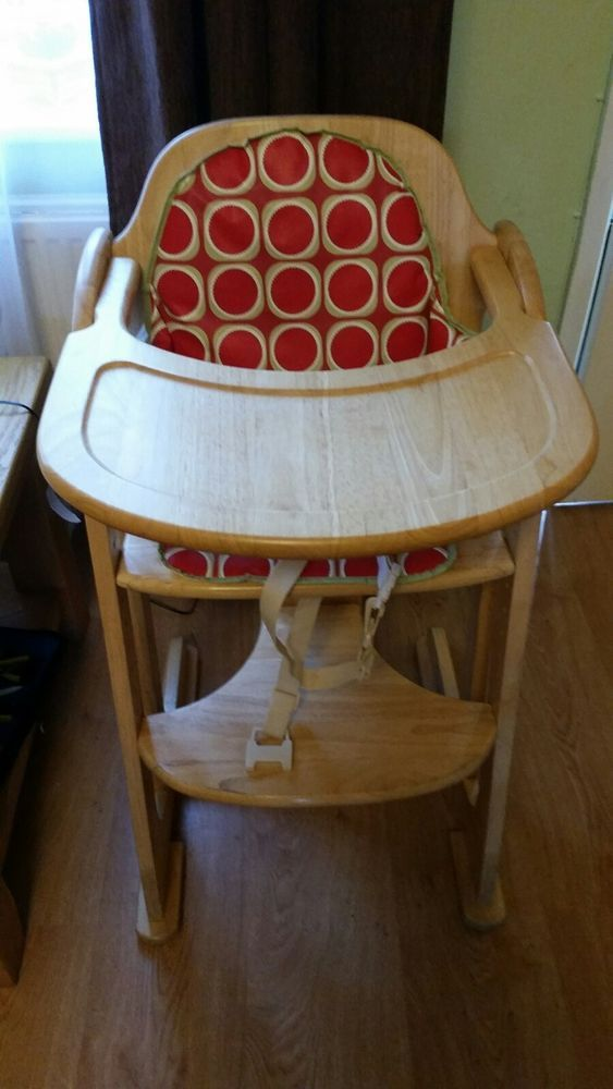 Foldable baby wooden high chair height adjustable feeding seat used ...