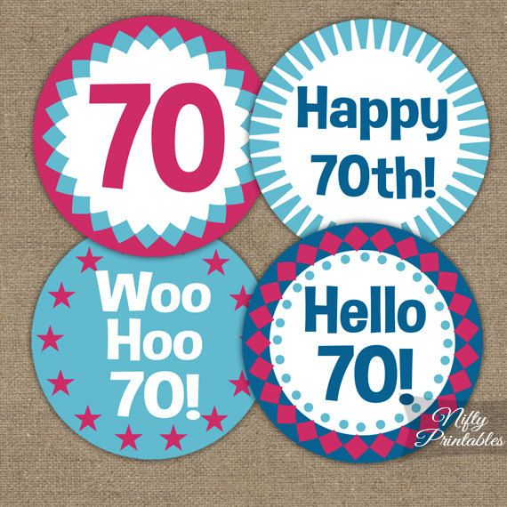 70th Birthday Cupcake Toppers