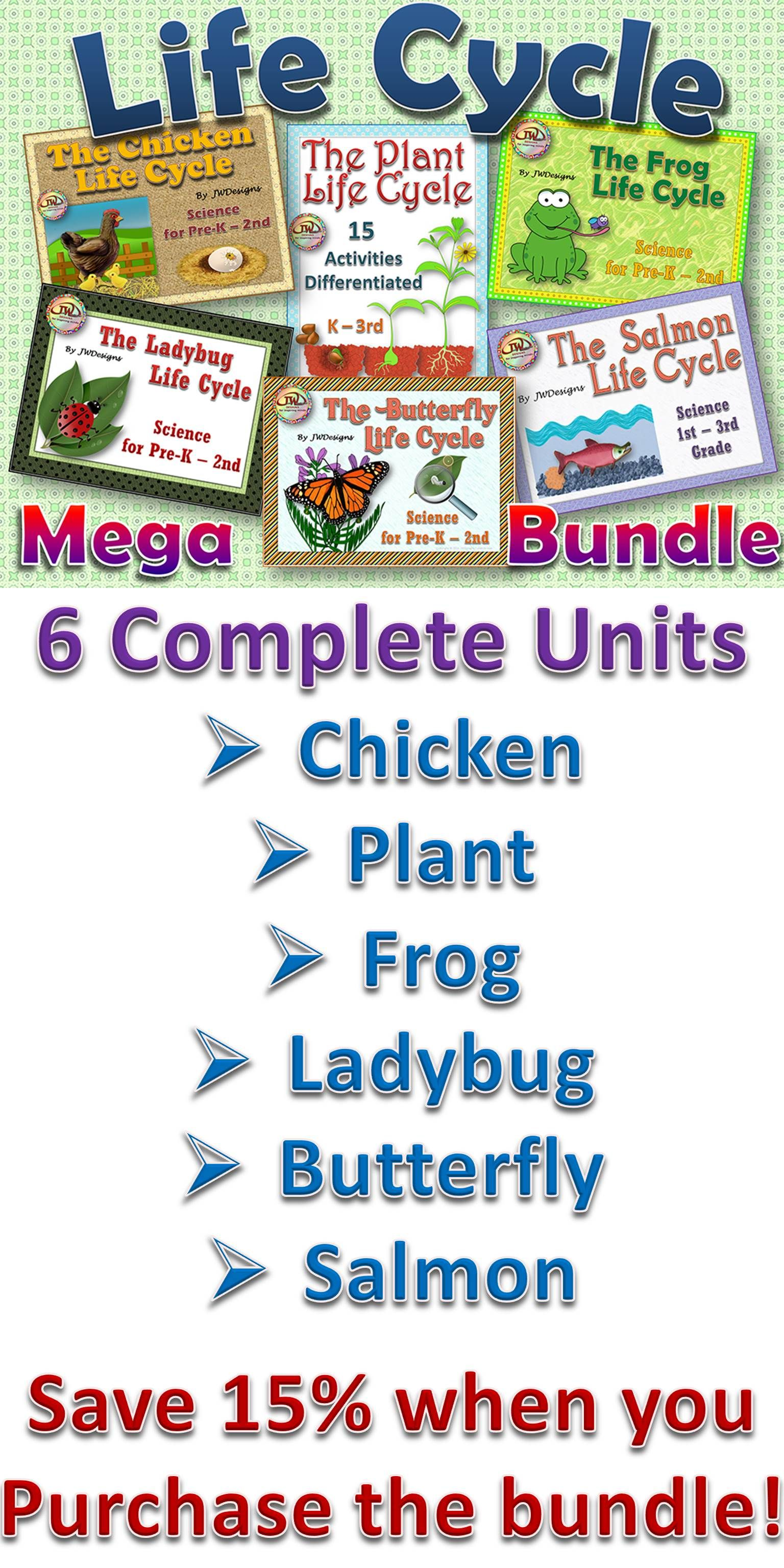 Six Unit Life Cycles Bundle Butterfly Frog Chicken Plant