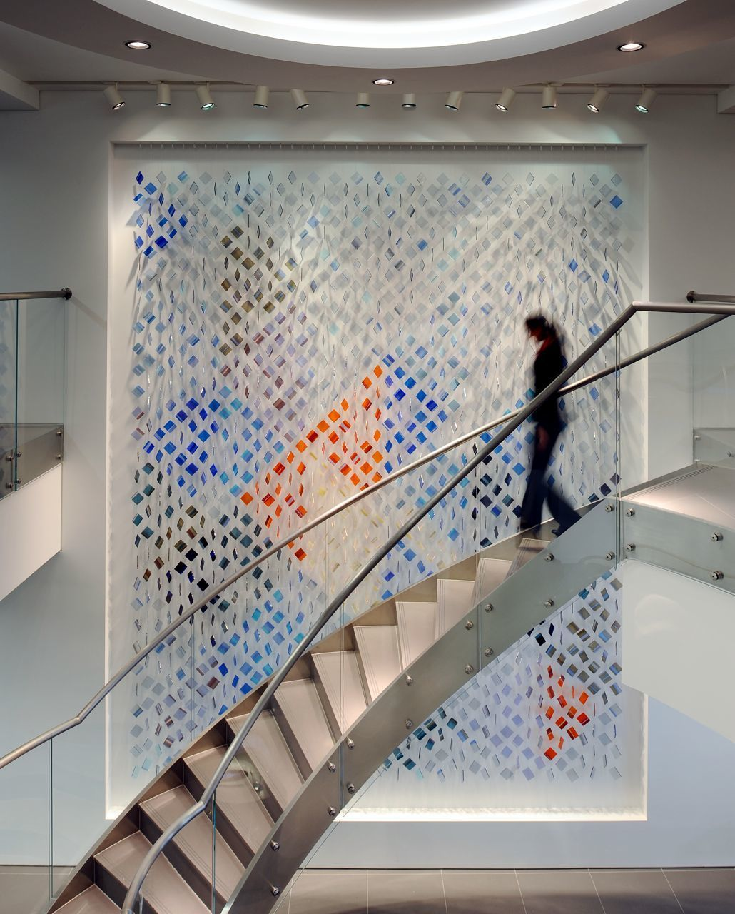 Glass artwork, hand made and suspended. London EC2