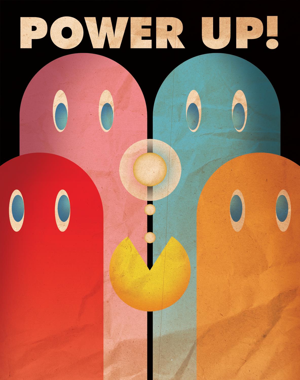 Mínima Pacman Videojuegos Diseño Moderno Retro Print-Varios Tamaños-Idea de Regalo