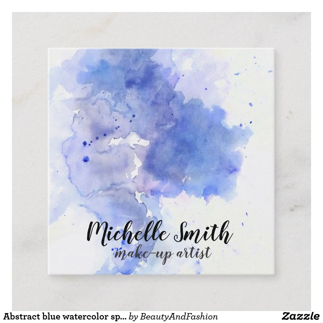 Abstract Blue Watercolor Splash Make Up Artist Square Business