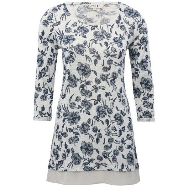 M&Co Floral Print Chiffon Trim Top ($31) ❤ liked on Polyvore featuring tops, grey marl, sheer floral top, scoop neck top, grey top, flower print top and woven top