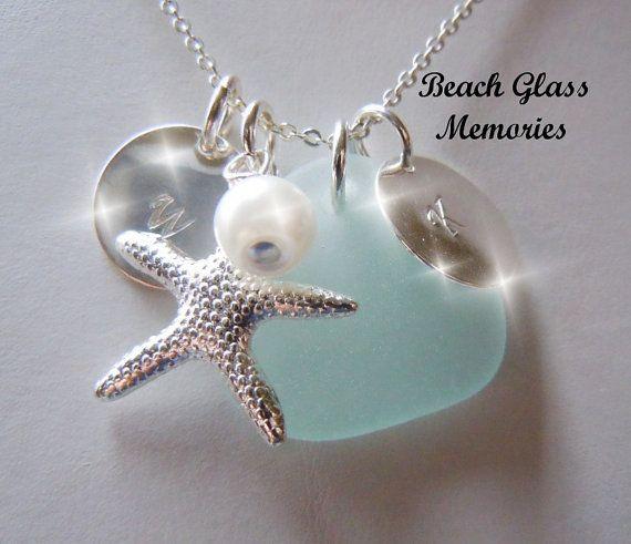 Personalized Aquamarine Beach Glass Necklace Sea Glass Jewelry Seaglass Necklace
