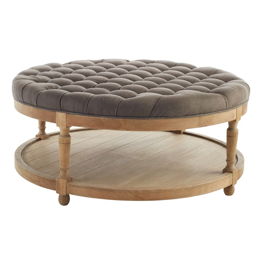 - Round Button Tufted Coffee Table Wisteria Tufted Ottoman