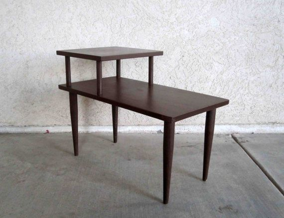 Vintage Mid Century 2 Tier Side Table In Dark Walnut By Midmod Table Mid Century Small Living