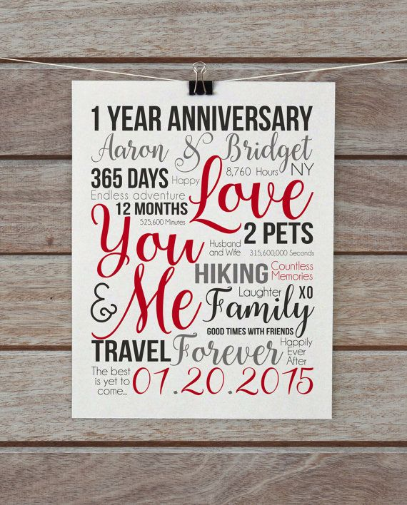 First Year Anniversary 1 Year Gift Wife Husband