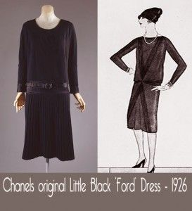 aa3bef0704a Chanels Little Black Ford Dress-1926. A small print ad which appeared in  the Vogue issue of that October in 1926. The exact description given by  Vogue was ...