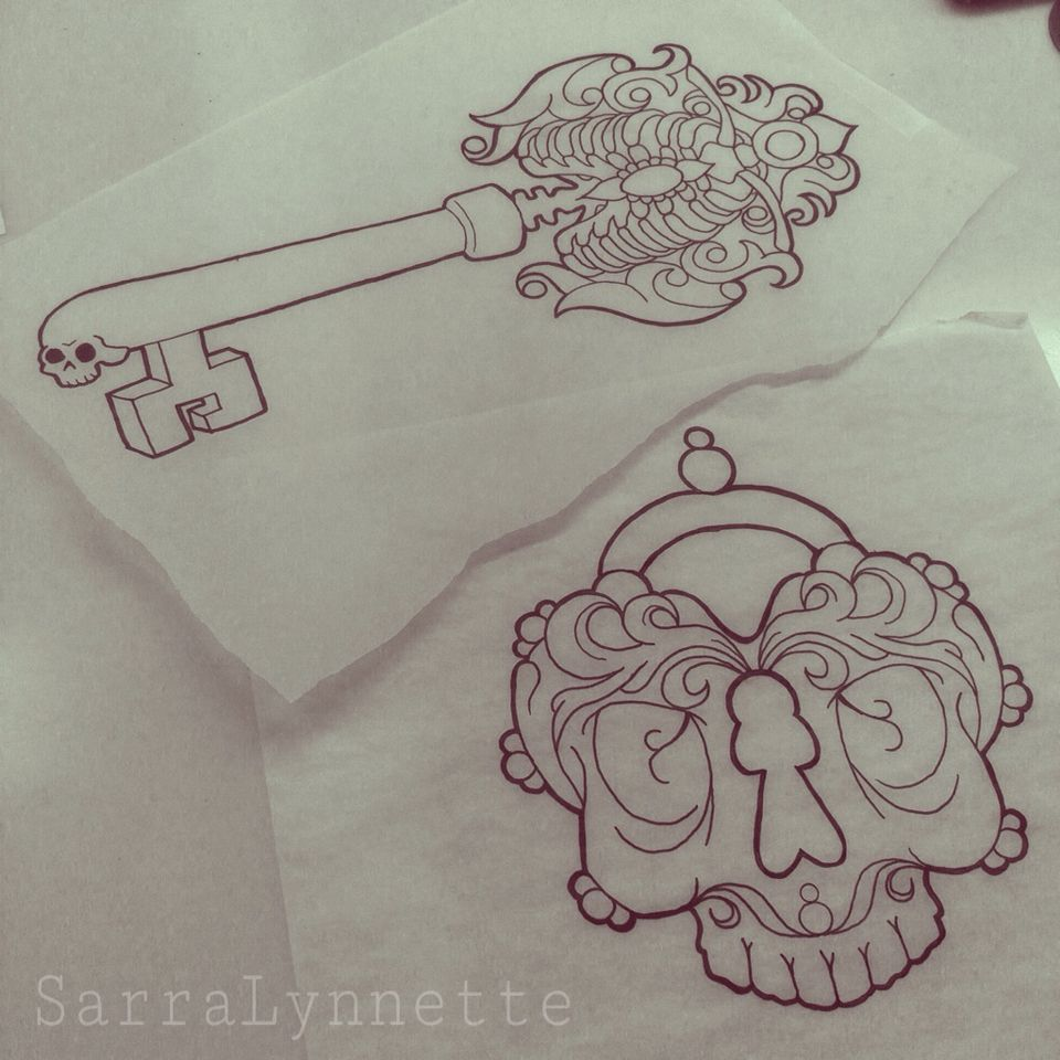 Skeleton key and skull heart locket tattoo drawings by Sarra Lynnette