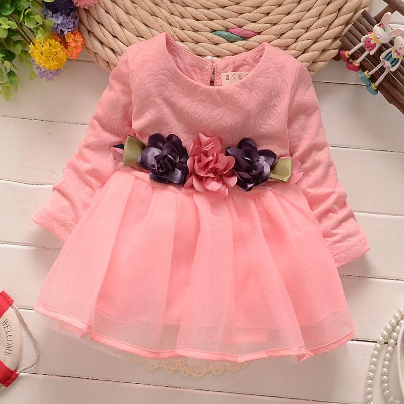 CN Spring and Autumnnew children dresses Cotton + yarn Flowers Waist ...