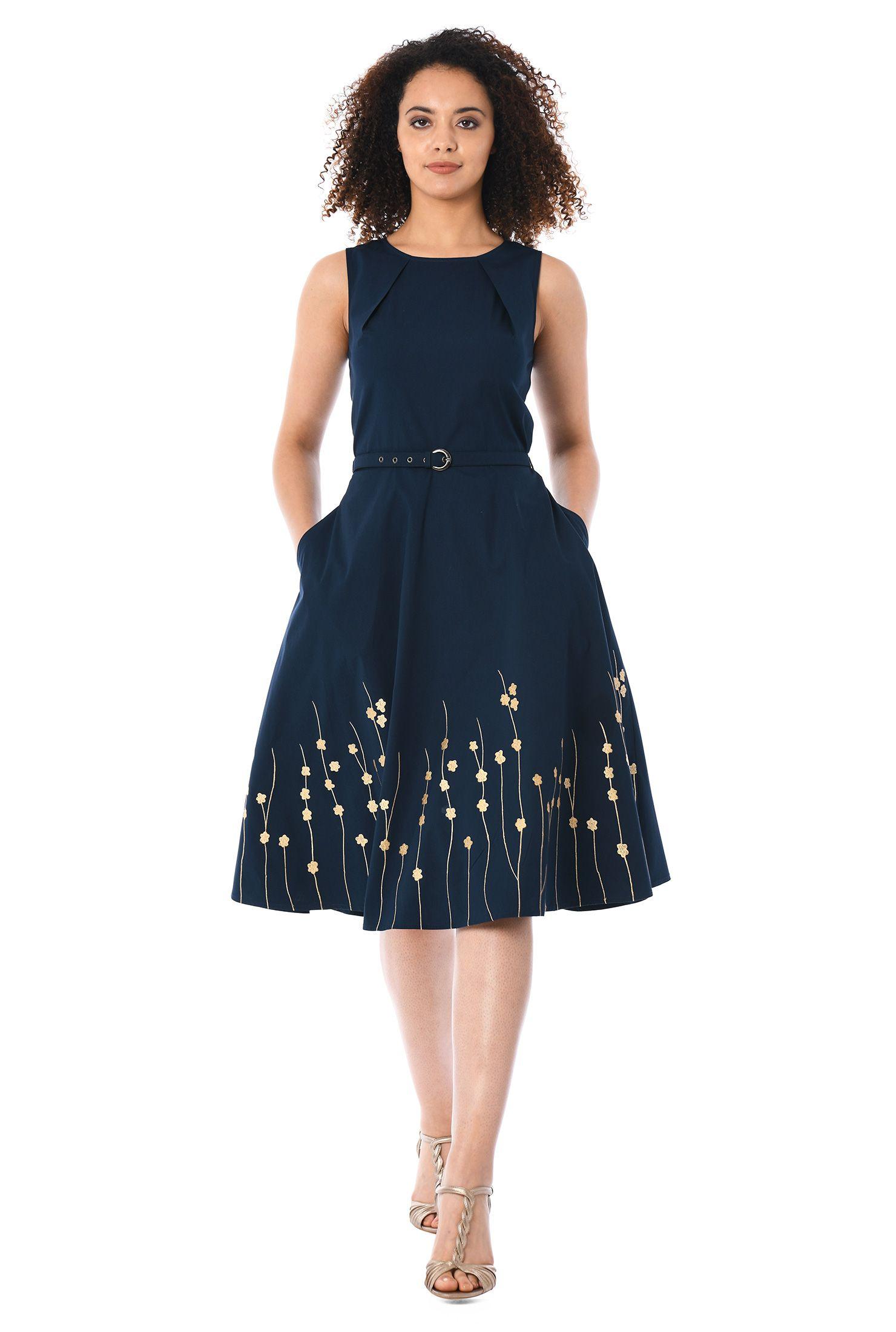 Back zip dresses below knee length dresses belt dresses cotton