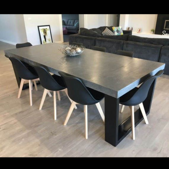 8 Seater 2 4m Dining Table Polished Concrete Patio Outdoor Indoor Table With Powder Coated Steel Base 2 4m X 1 1m Concrete Dining Table Concrete Top Dining Table Dining Table Chairs