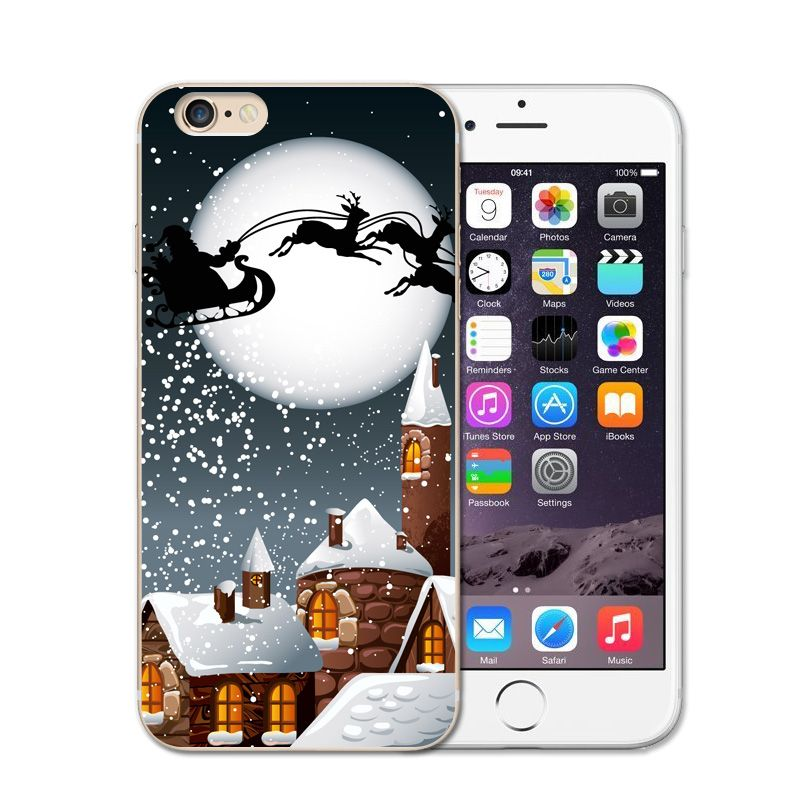 63c1dae83124d2 Christmas Santa Claus Snowflake Christmas Gift Tree Deer Soft Silicon Cover  For Iphone