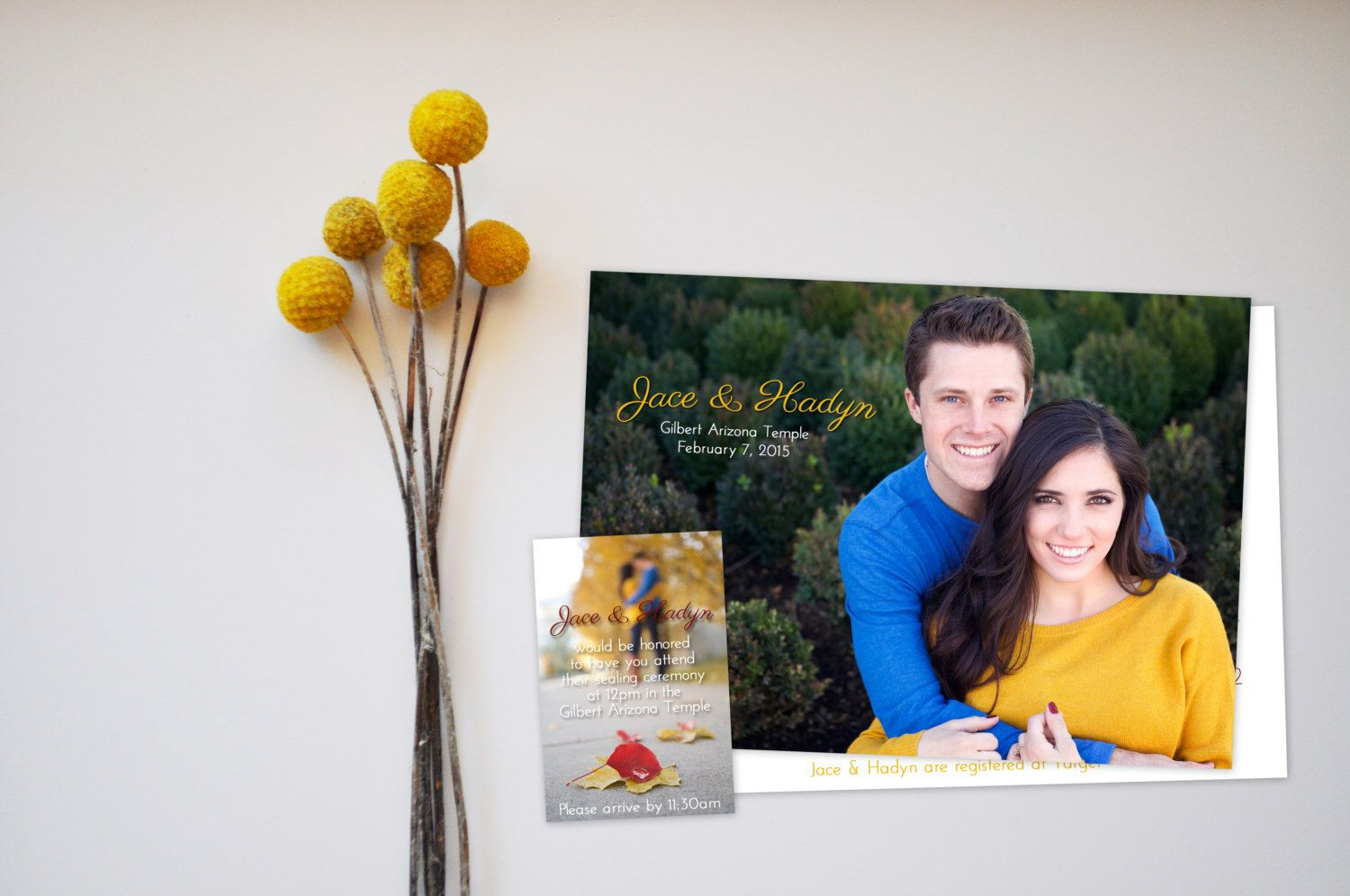 A personal favorite from my Etsy shop https://www.etsy.com/listing/222084186/simplistic-rustic-red-and-yellow-wedding