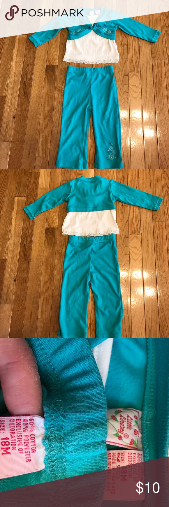 Little Lindsey girls aqua and white outfit 18M Little Lindsey girls aqua and white outfit size 18M. Does have a small red dot on front of shirt(pictured). Otherwise in great gently used condition, no rips or tears! little lindsey Matching Sets