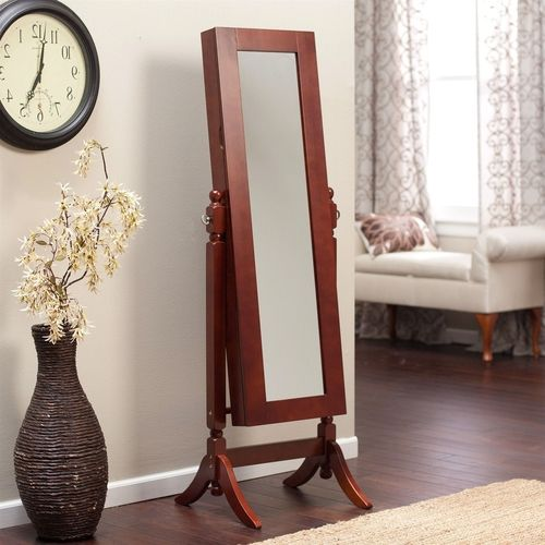 Full Length Tilt Cheval Mirror Jewelry Armoire Cherry Wood Finish
