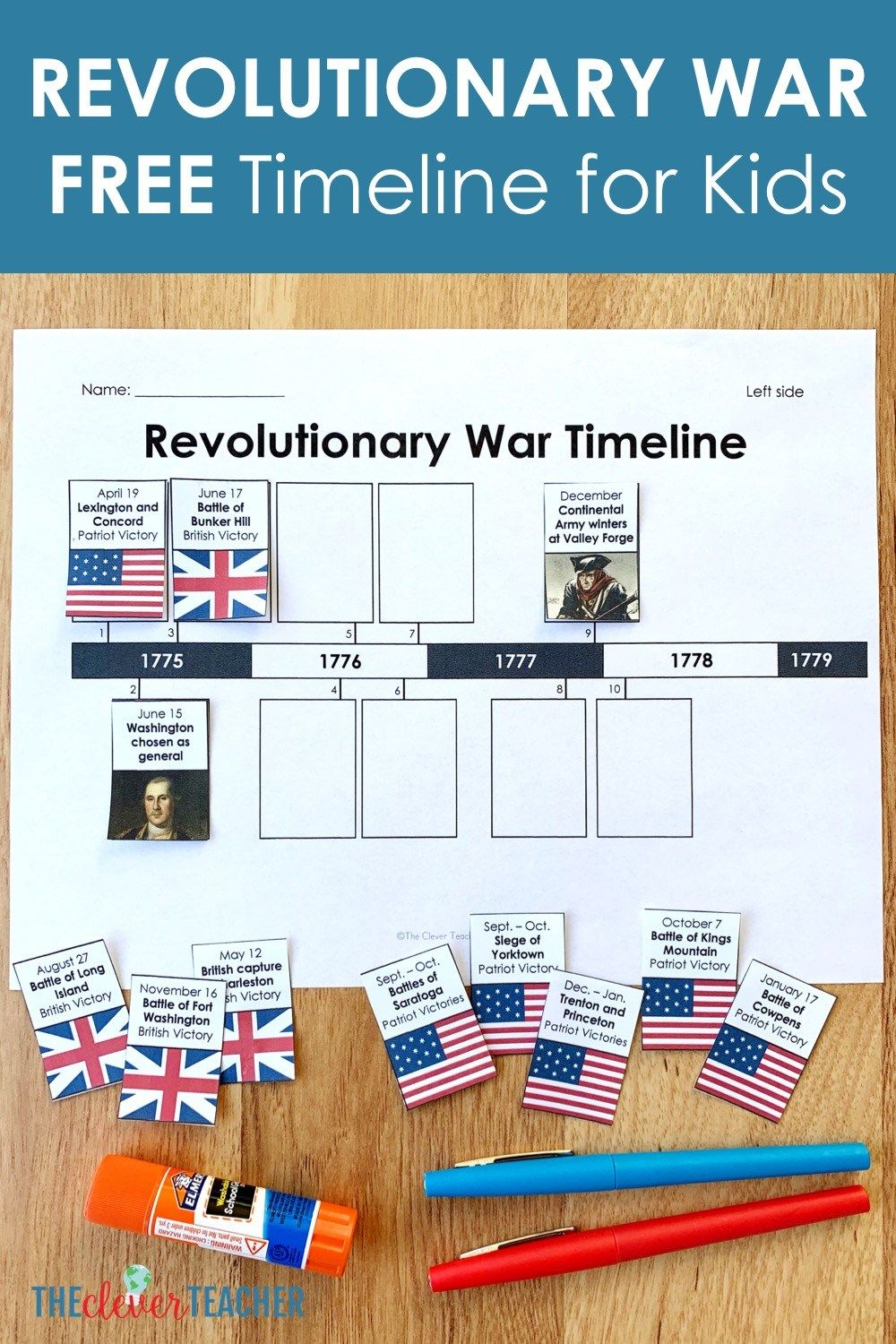 Revolutionary War Timeline Sort And Lesson Plan For 5th Grade And Middle School Students Free Worksheet Teaching History Revolutionary War Teaching Us History