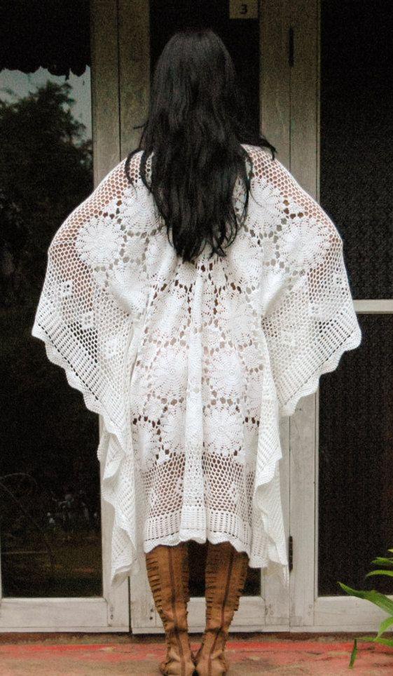 Fairytale Boho Crochet Long White Kaftan. Crochet Maxi Dress ...