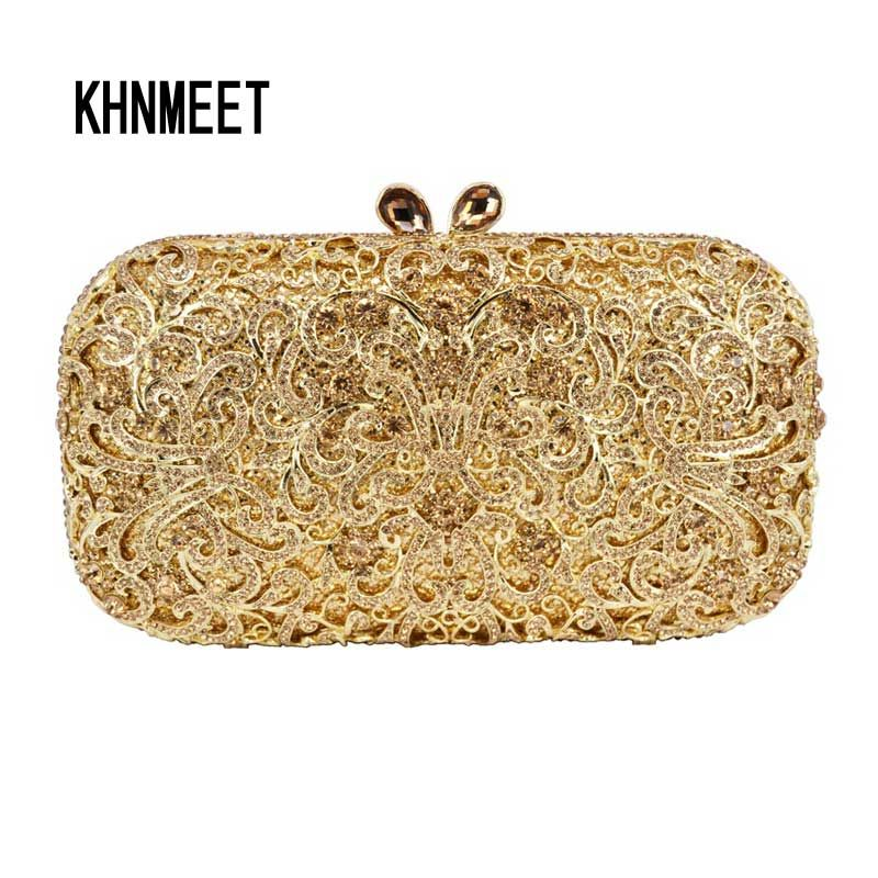 Golden Women Crystal Stones Evening bag Hollow out Cocktail Purse Red Diamond  Crystal Encrusted Bags Ladies shoulder bags sc449  Affiliate 0aebcfb124e13