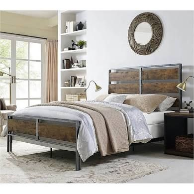 Best Pine Canopy Mammoth Cave Metal And Wood Plank Queen Bed 640 x 480