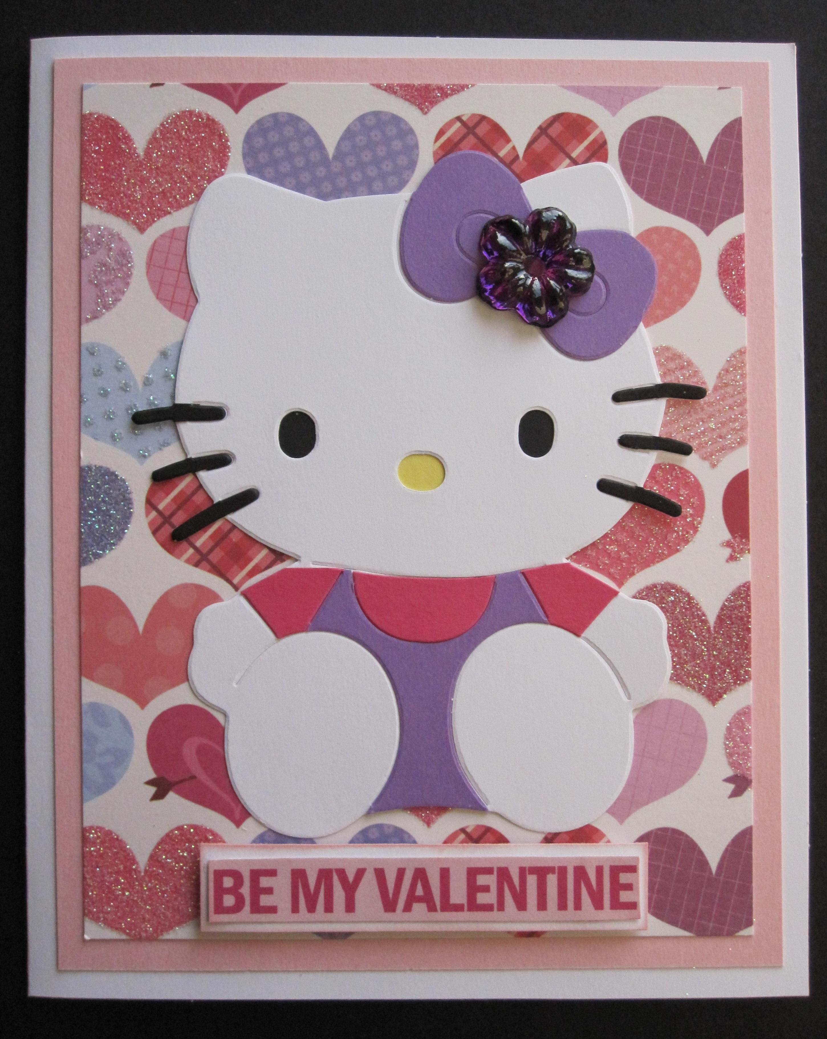 Handmade Be My Valentine Pink Purple Hearts Hello Kitty Card – Hello Kitty Valentine Cards