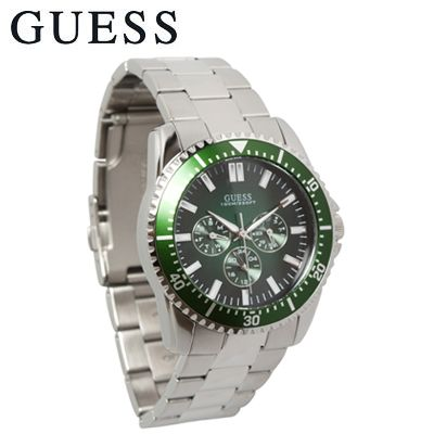 guess watch for men green multifunction dial 3 sub dials guess watch for men green multifunction dial 3 sub dials and silver tone