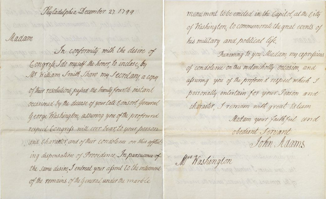 The Washington Collection at Tudor Place Condolence letter and - collection letter