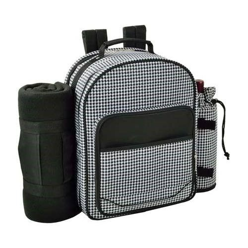 Picnic at Ascot Unisex Houndstooth Picnic Backpack for Two with Blanket