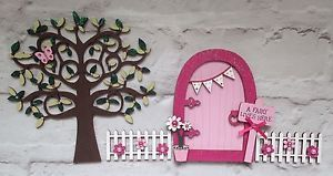 Magical Hand Painted Pink Fairy Door And Tree With Fencing    eBay
