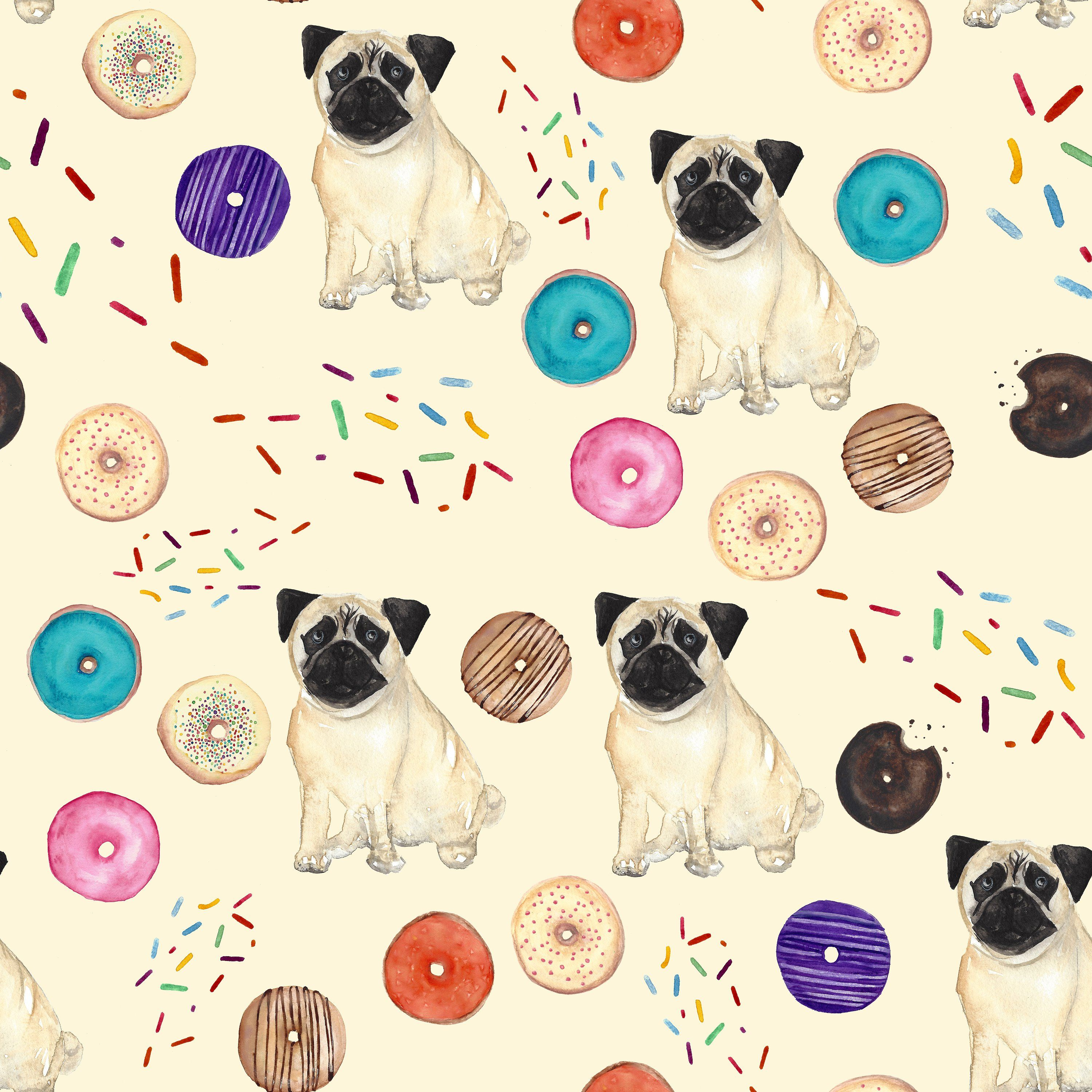 Watercolor Clip Art Dogs N Donuts Pug Wallpaper French