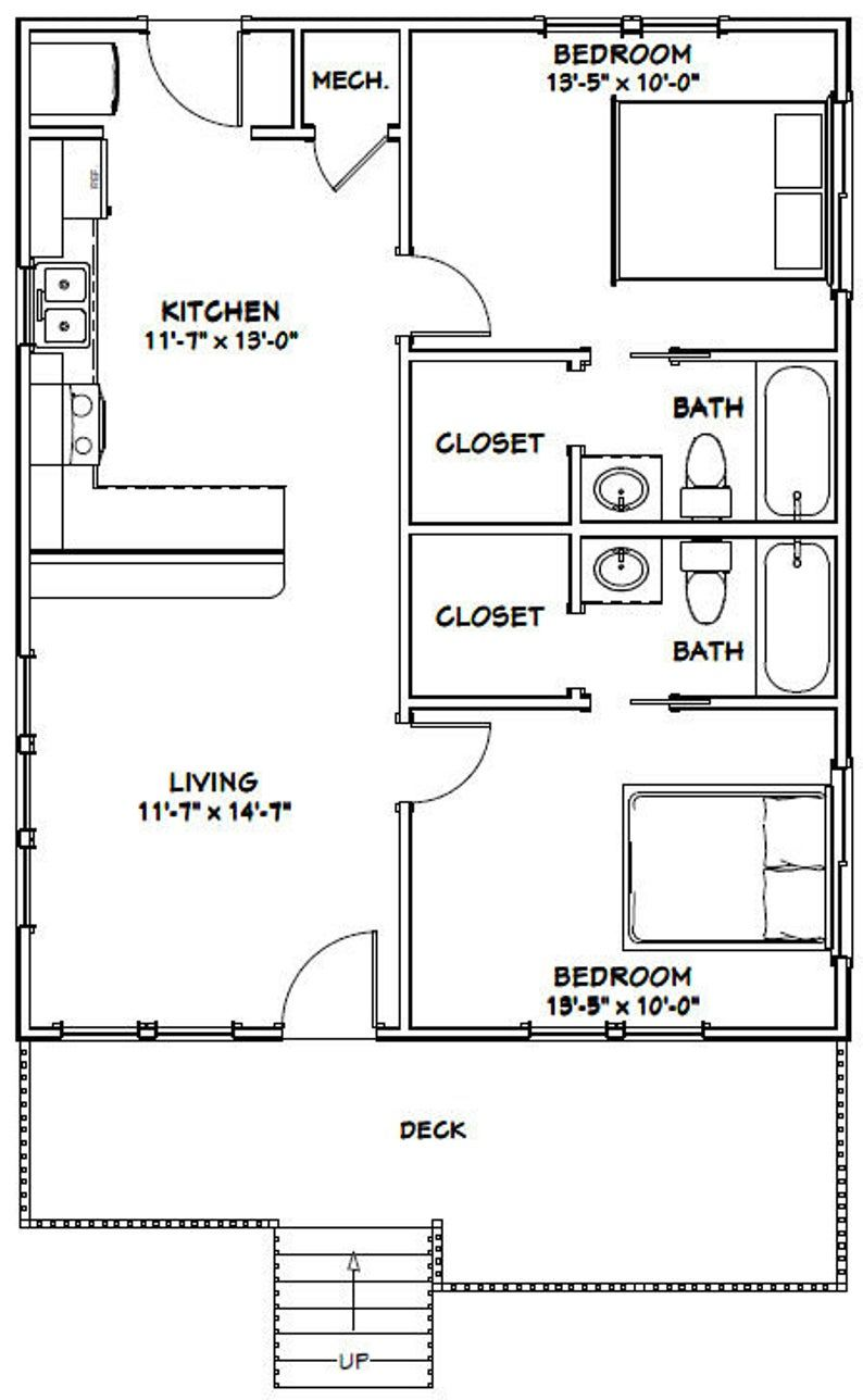 26x32 House 2 Bedroom 2 Bath 832 Sq Ft Pdf Floor Plan Instant Download Model 1a In 2021 Small House Floor Plans Tiny House Floor Plans Cabin Floor Plans