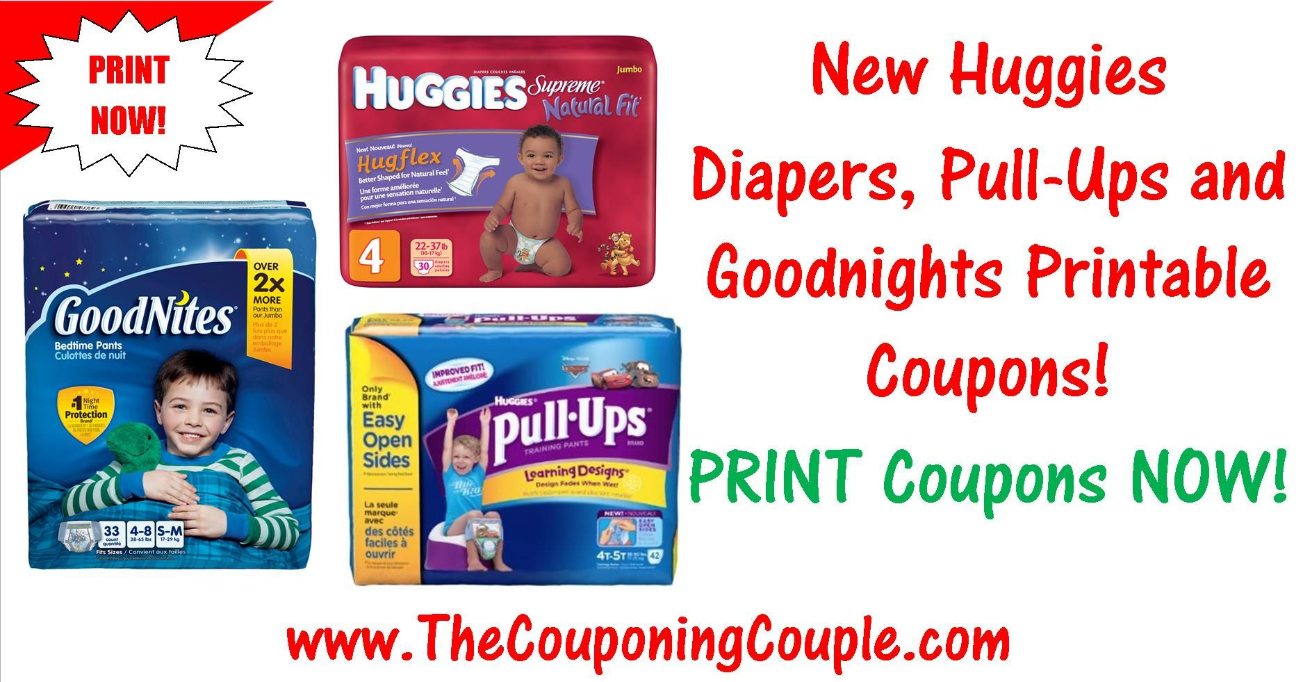 ***HOT NEW HIGH VALUE HUGGIES, PULL-UPS, AND GOODNITES COUPONS*** Print these NOW while they are still available! Click the Picture below to get the MOBILE FRIENDLY DIRECT LINKS ► http://www.thecouponingcouple.com/new-huggies-diapers-pull-ups-and-goodnites-printable-coupons/  Help us out and use the SHARE button below the Picture to SHARE this post with your Family and Friends!  #Coupons #Couponing #CouponCommunity  Visit us at http://www.thecouponingcouple.com for