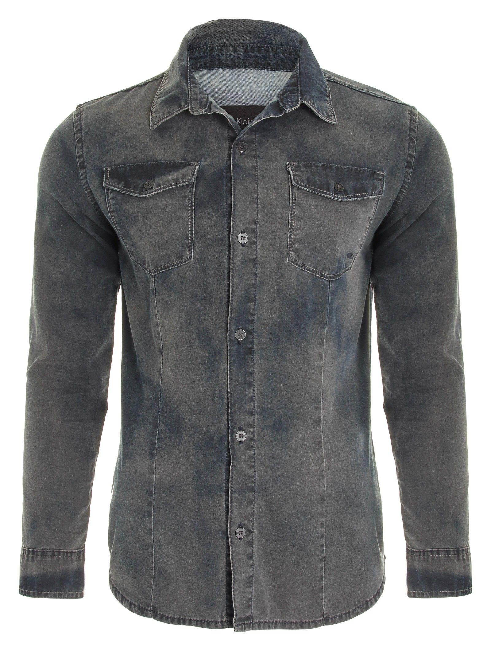 Camisa Jeans Slim Moda Masculina