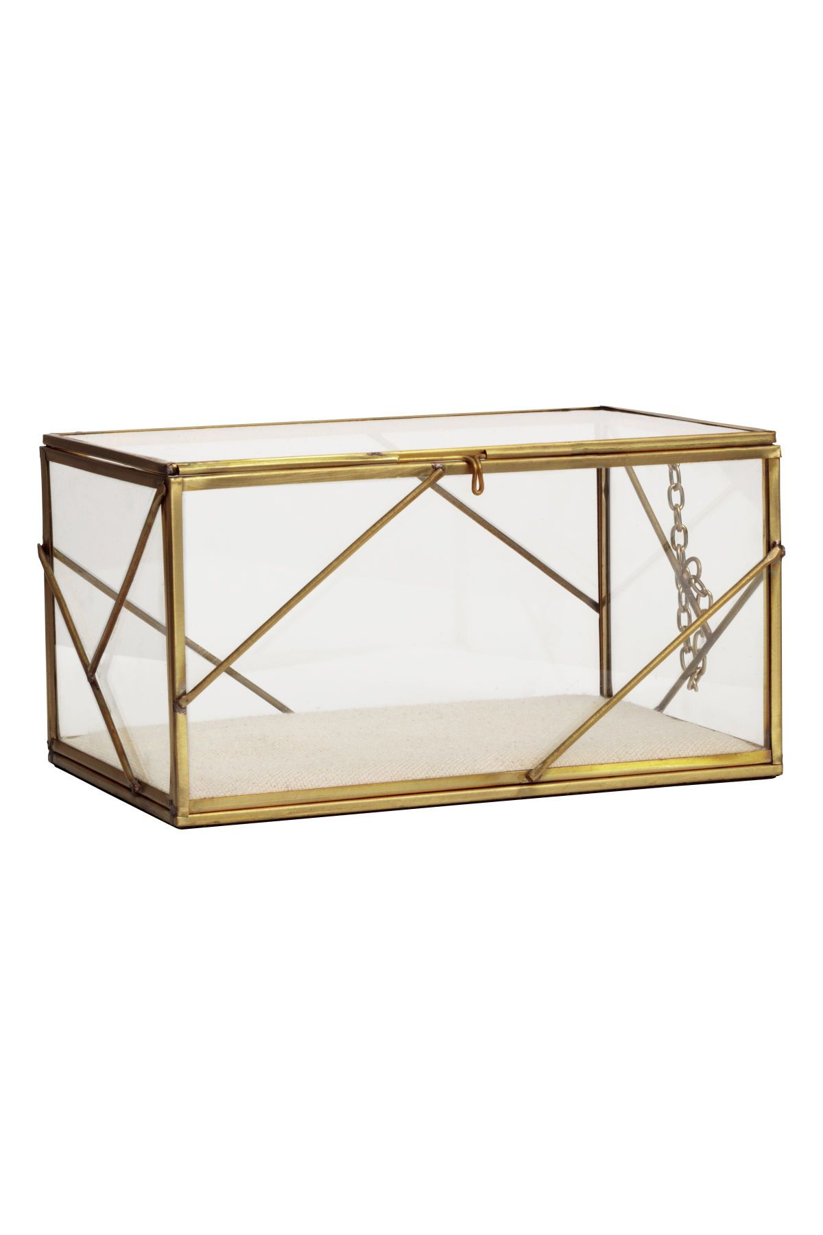 Rectangular Box In Clear Glass With A Metal Frame Lid