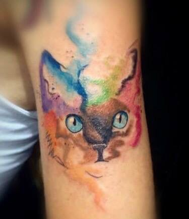 Watercolor Cat Tattoo Watercolor Cat Tattoo Tattoos Psychedelic Tattoos