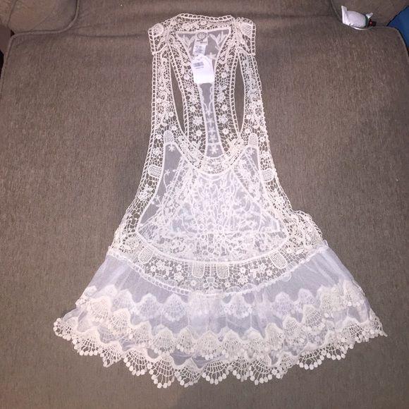 Lace crochet tank Sun & moon lace/crotchet/mesh tank, never worn, excellent condition Sun & moon Tops Tank Tops