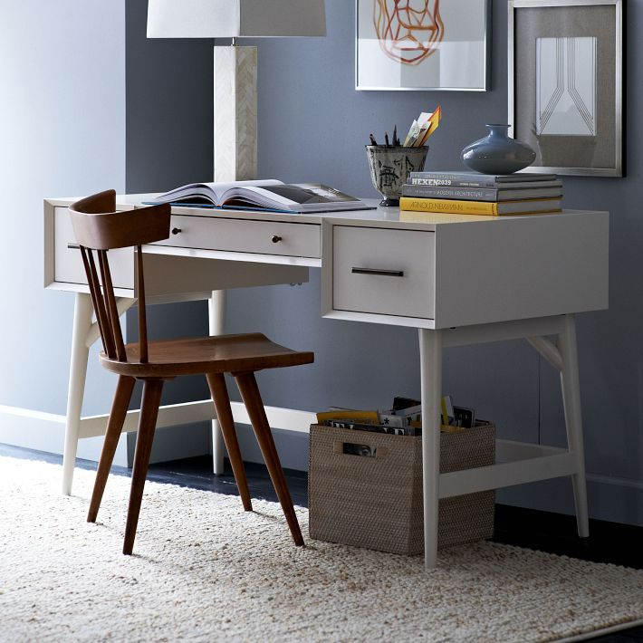 New Selection - Mid-century Desk In White