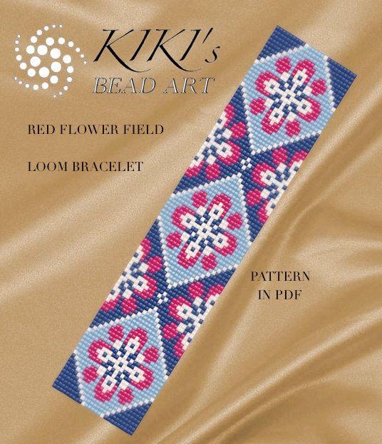 Bead loom pattern red flower field loom bracelet pdf pattern rocailleperlen perlenweben - Perlenarmband basteln ...