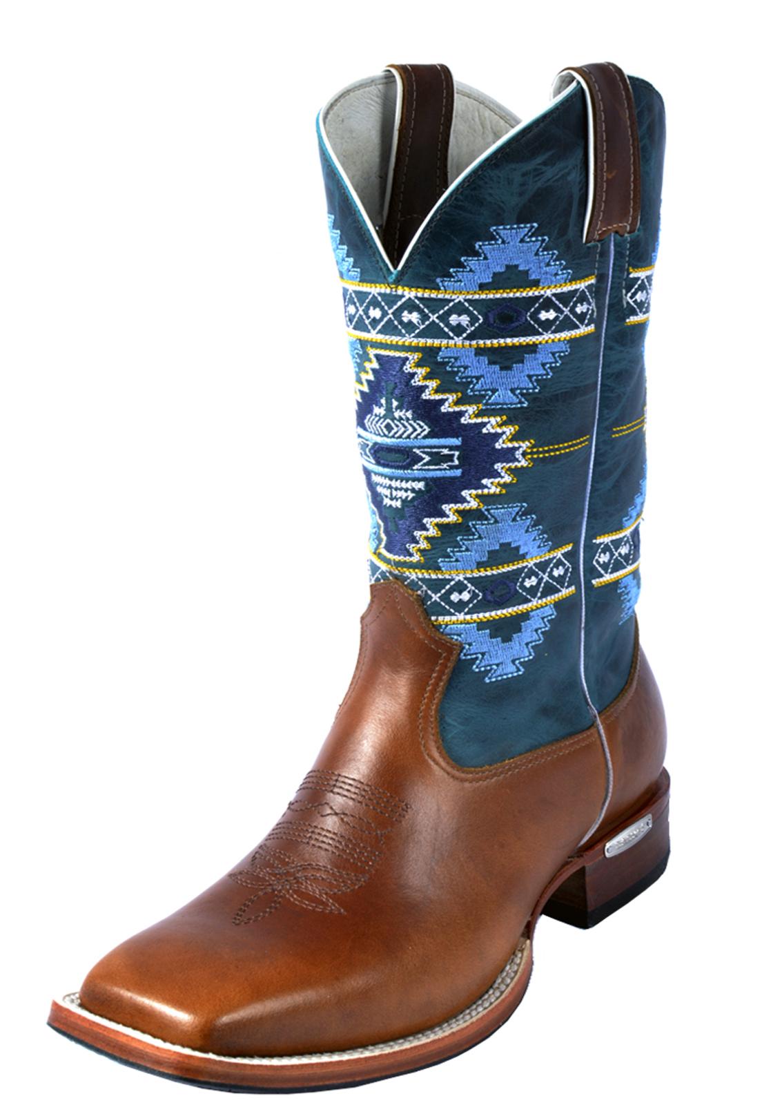 98b80a6df9 Bota Texana Botas Bico Quadrado Canela Estampada Marrom/Azul - Marca Texana
