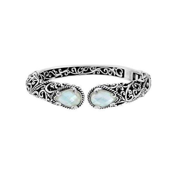 Carolyn Pollack Signature Sterling 36.0g Gemstone Doublet Cuff ($217) ❤ liked on Polyvore featuring jewelry, bracelets, white bracelet, white jewelry, gemstone bracelet, heart jewelry and heart shaped jewelry