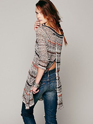 granite affect textured cotton knit tunic sweater with back opening