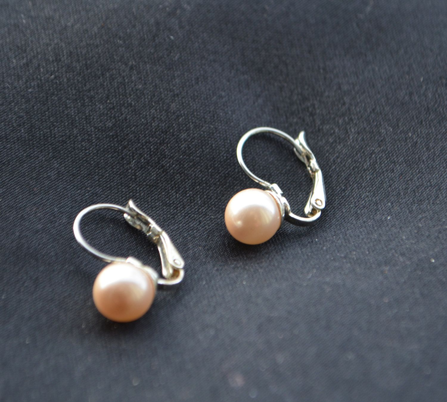 Genuine Pearl Earrings Pink Tint To Pearl With Silver Tone Accent By  Studiovintage On Etsy