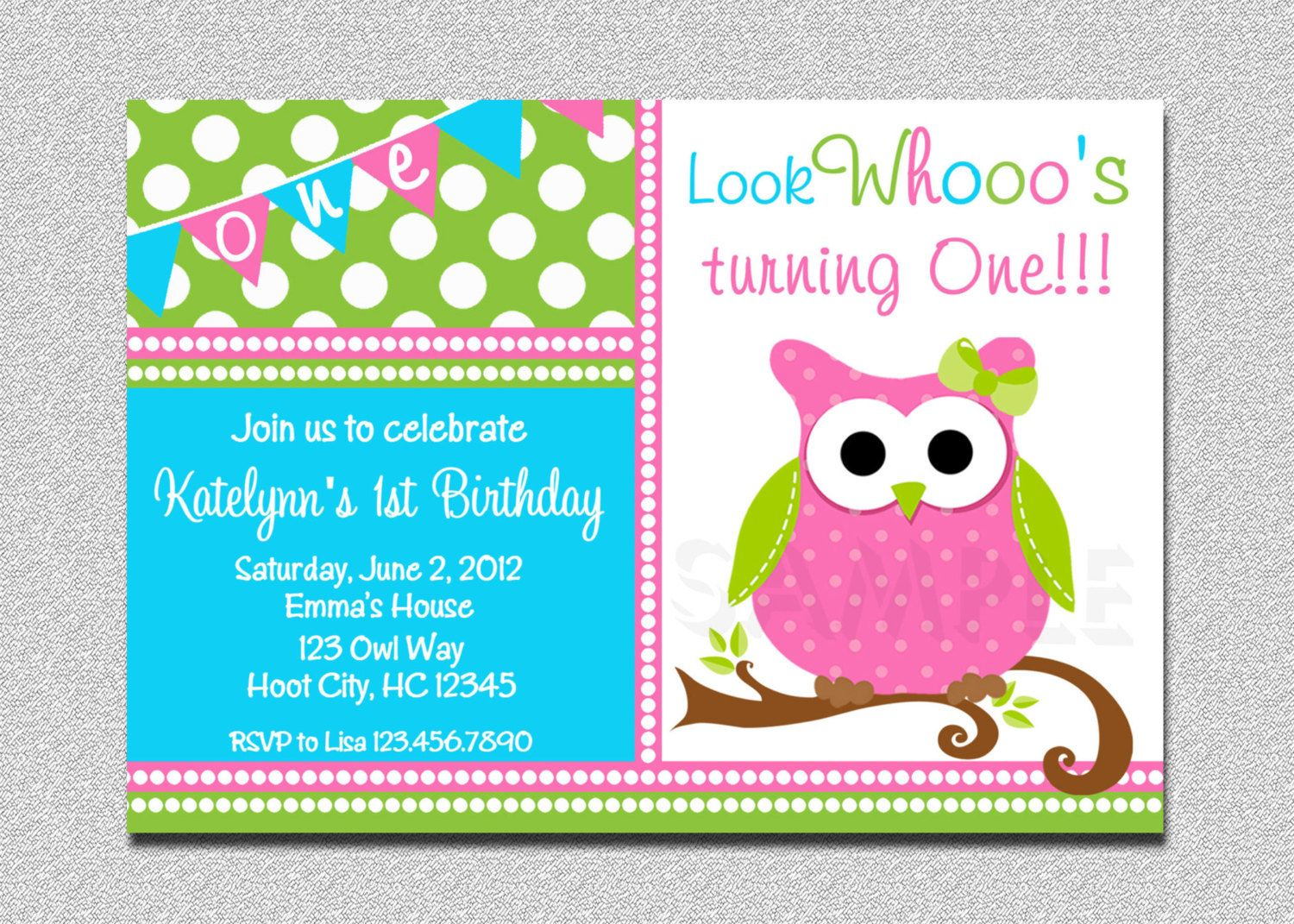 Download Now FREE Template Owl Invitations For First Birthday   Baby ...