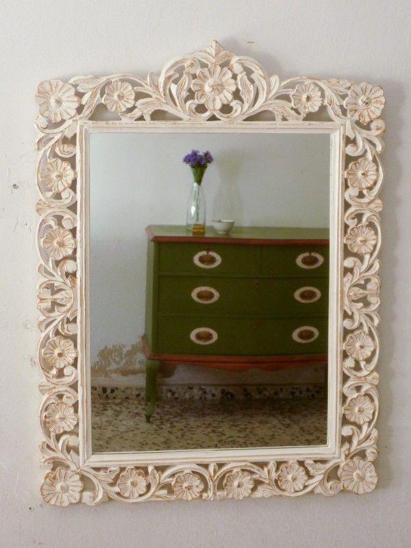 Espejo madera blanco envejecido creado por www for Espejo blanco envejecido
