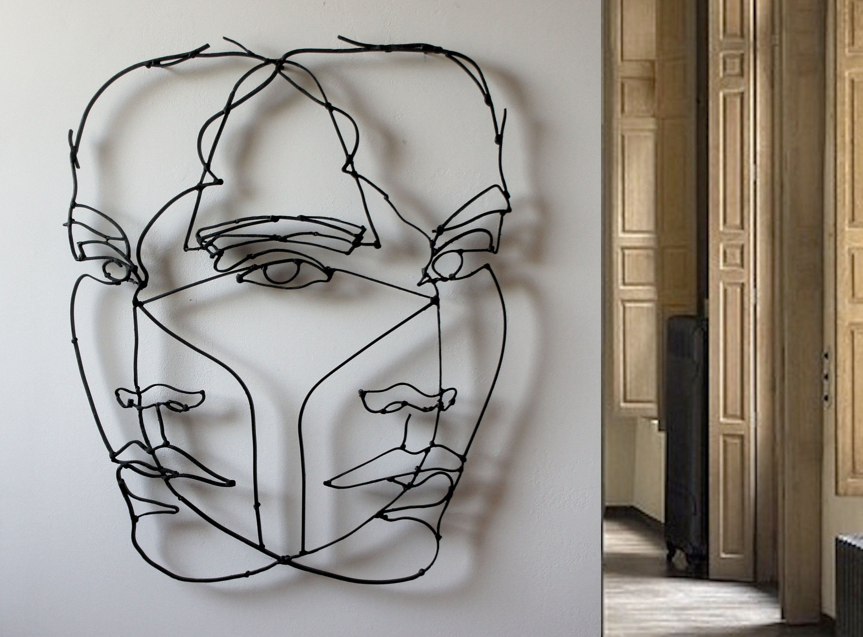 Large Metal Wall Art Abstract Home Decor Sculpture Minimalist Art Woman Face Contemporary Black Origin Wire Wall Art Original Wall Art Modern Art Abstract