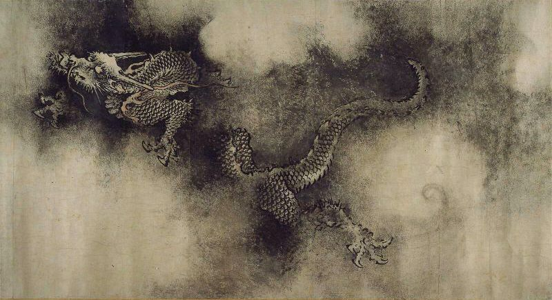 """Dragons from """"The Nine Dragons"""" handscroll ( 九龍圖卷 ), painted by Chen Rong in 1244"""