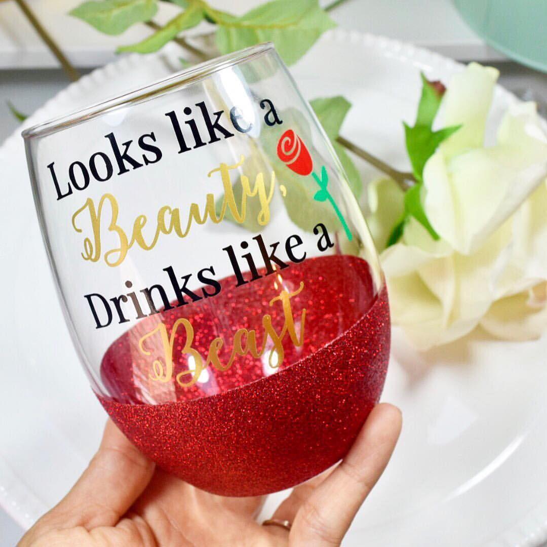 Beauty And The Beast Wine Glass Beautyandthebeast Inspired Glitter Wine Glass Small Shop Wine Glasses Wine Glass Sayings Diy Wine Glasses Funny Wine Glasses