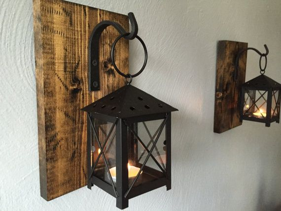 pair of wall sconces lamps lighting candle holder barnwood rustic candle lanterns wrought iron hanging wall decor cottage - Rustic Candle Wall Sconces