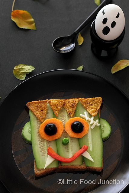 Infantil niños divertido Healthy Frankenstein sandwich and many more fun food…